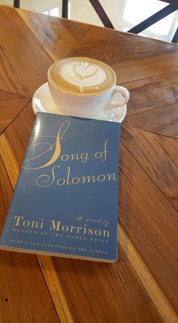 Blue paperback book lying on shiny polished wood dining table in front of a white coffee cup and saucer. The cup is full of latte with a fleur-de-lis pattern in the foam.