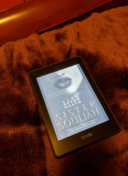 A Kindle lays flat on a dark, plum-colored velvety blanket. It displays the black and white cover the Life After Death, which depict a pair of full women's lips above the book title.